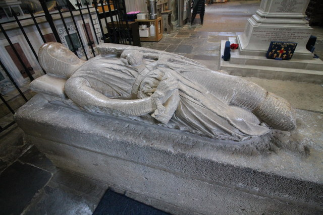 Pershore abbey Worcestershire crusader knight tomb stone carving