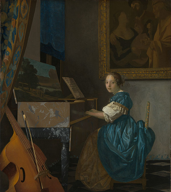 Johannes Vermeer, girl standing at a virginal, national Gallery, London, Semper gallery Dresden