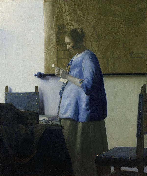 Johannes Vermeer, Girl in Blue reading a letter, rijksmuseum, Amsterdam, Semper gallery, Dresden