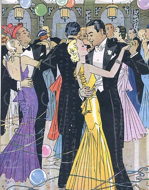 Art Deco, New Years Eve, Flappers, digital illustration