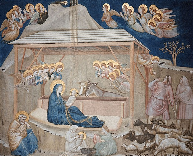 Giotto do Bondone, The Nativity, c1304, the Lower Church, Assisi, Italy, Fresco, nativity