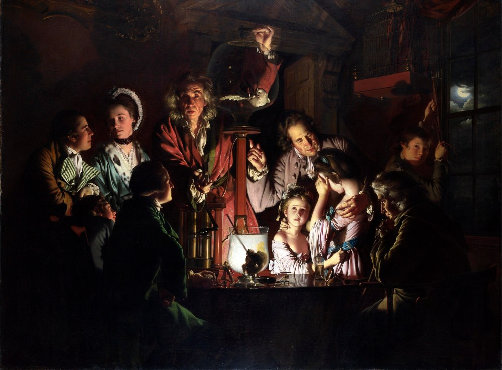 Joseph Wright of Derby, National Gallery, London, an experiment on a bird in the air pump, Robert Boyle, Derby