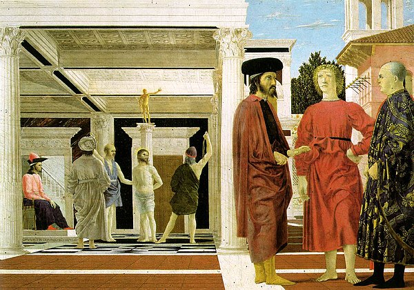 Piero della Francesca, The Flagellation of Christ, c1450-1460, oil and tempera on panel, 58cm x 82cm, Palazzo Ducale, Urbino, Mary Acton, Learning to look at paintings.