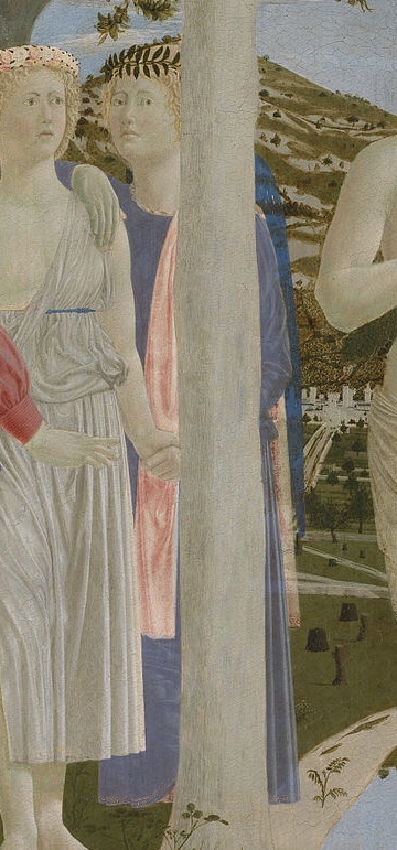 Piero della Francesca, The Baptism of Christ, c1440s (detail). Learning to look at paintings, Mary Acton.