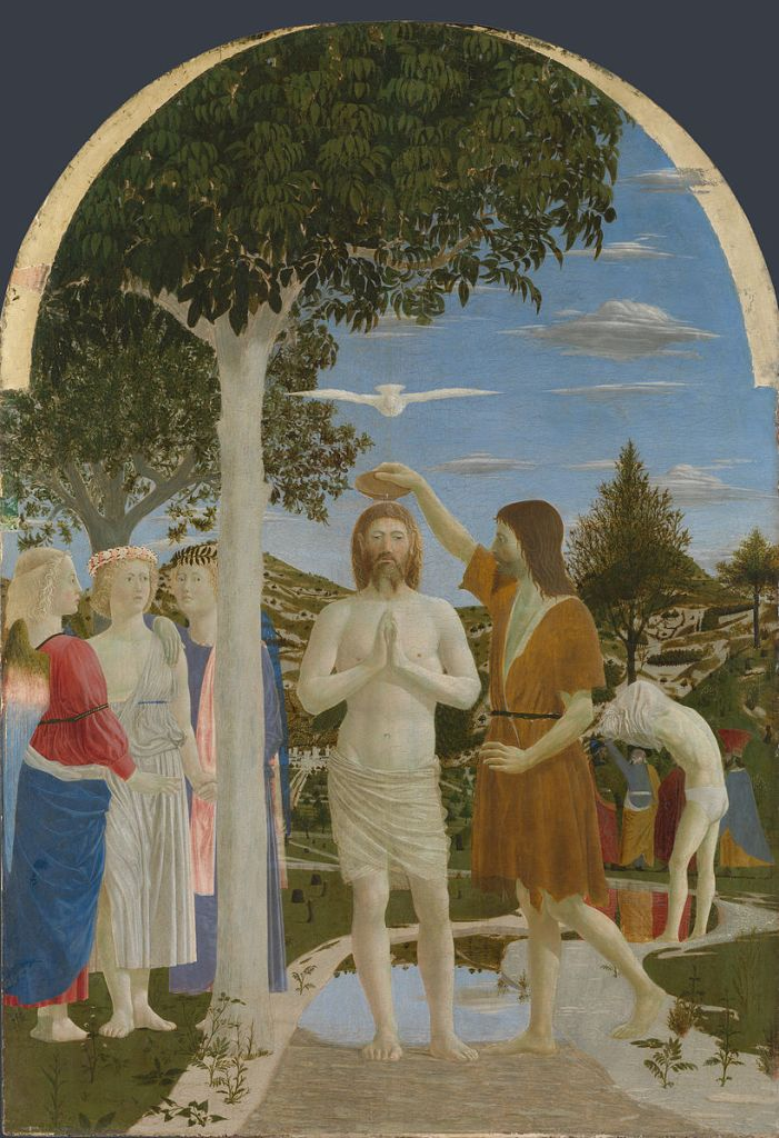 Piero della Francesca, The Baptism of Christ, c1440s, tempera on poplar panel, 167cm x 116cm, National Gallery, London., Mary Acton, learning to look at paintings