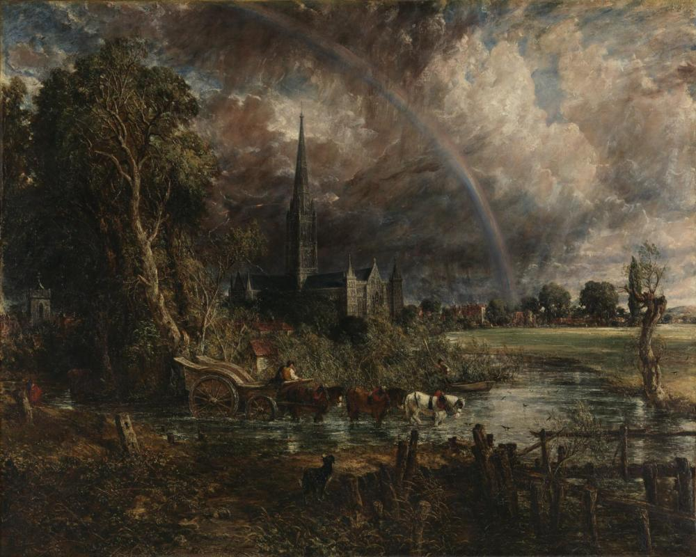 John Constable, Salisbury Cathedral from the Meadows 1831, oil on canvas, 1537cm x 970cm, Tate Britain, London.
