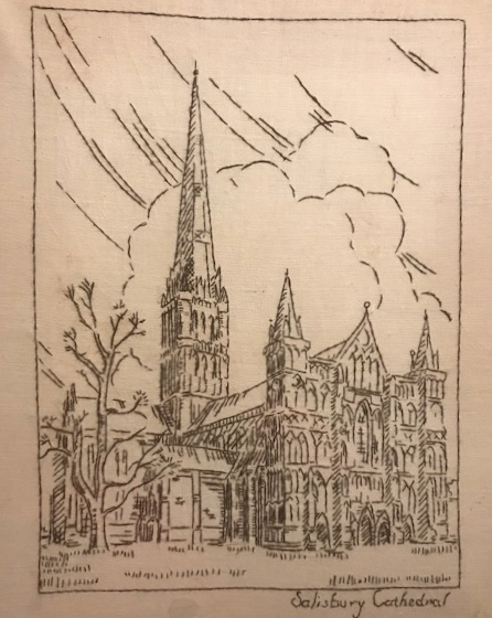 Thelma Harris, Salisbury Cathedral, c1954, cotton embroidered on linen, 26cm x 32cm.