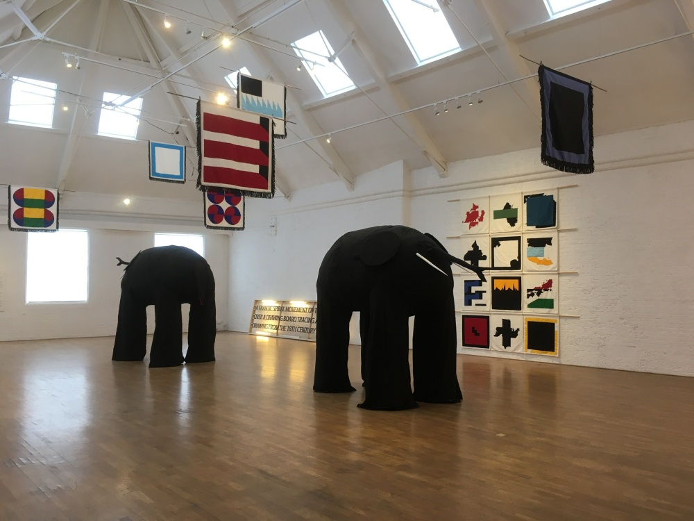 Drawing Elephants, 2021, Oxford University MA gowns, cotton thread, wool, wood and oil paint, courtesy of the artist.