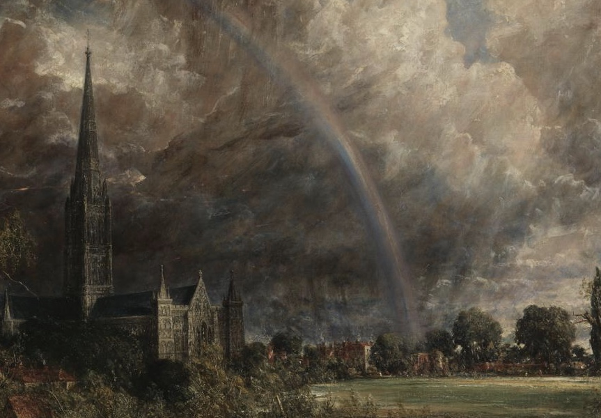 John Constable, Salisbury Cathedral from the Meadows 1831, oil on canvas, 1537cm x 970cm, Tate Britain, London. (Detail)