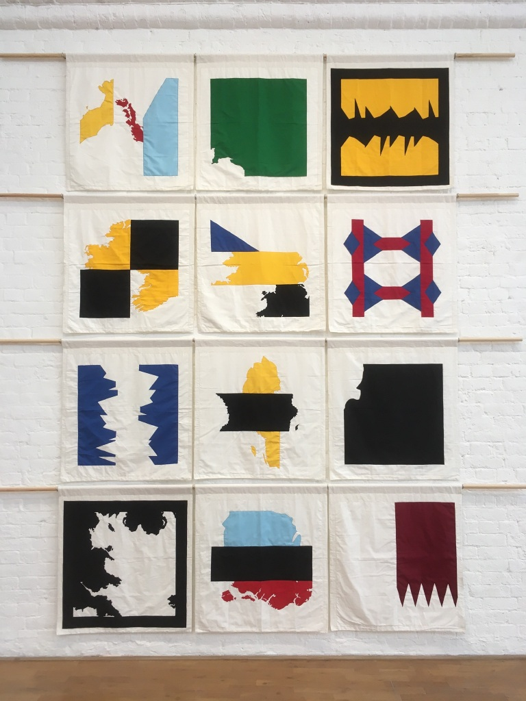Elephant Quilt II, 2021, Sewn polyester and cotton hung from wood, courtesy of the artist.