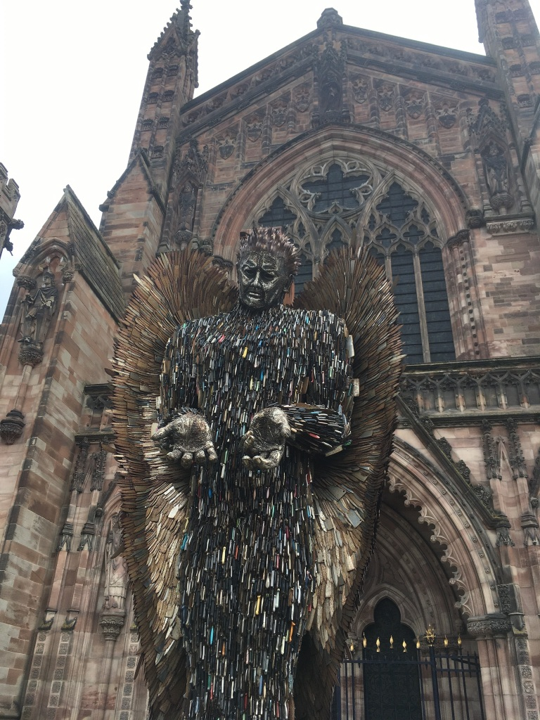 Alfie Bradley, Knife Angel, 2018, 100.000 knifes, pictured at Hereford Cathedral on tour of UK, Hereford, Coventry, knife Amnesty