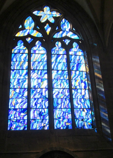 John Maine, Ascension, Stained glass, 2016, Hereford Cathedral.