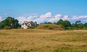 Tranmer House from Royal Burial Ground, Sutton Hoo, Suffolk, © National Trust. Ralph Fiennes, Carey Mulligan, King Rædwald, the dig, Anglo Saxon