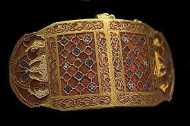 Shoulder clasp, gold, garnets, cloisonné, c 6th century, Sutton Hoo, Suffolk, British Museum.