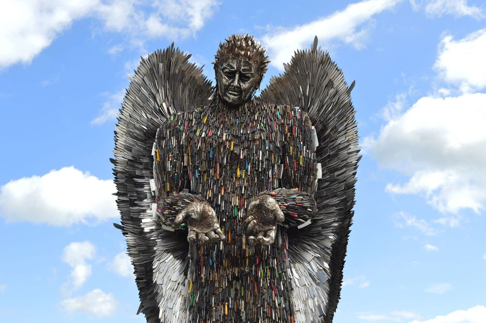 Alfie Bradley, The Knife Angel, 2018, steel sculpture, 8.2m, British Ironworks Centre, Oswestry, U.K., Hereford, Coventry, Chelmsford, Telford