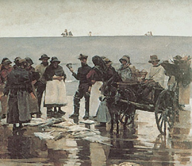 Stanhope Forbes, A Fish Sale on a Cornish Beach, 1884-5 (detail), Newlyn, Plymouth