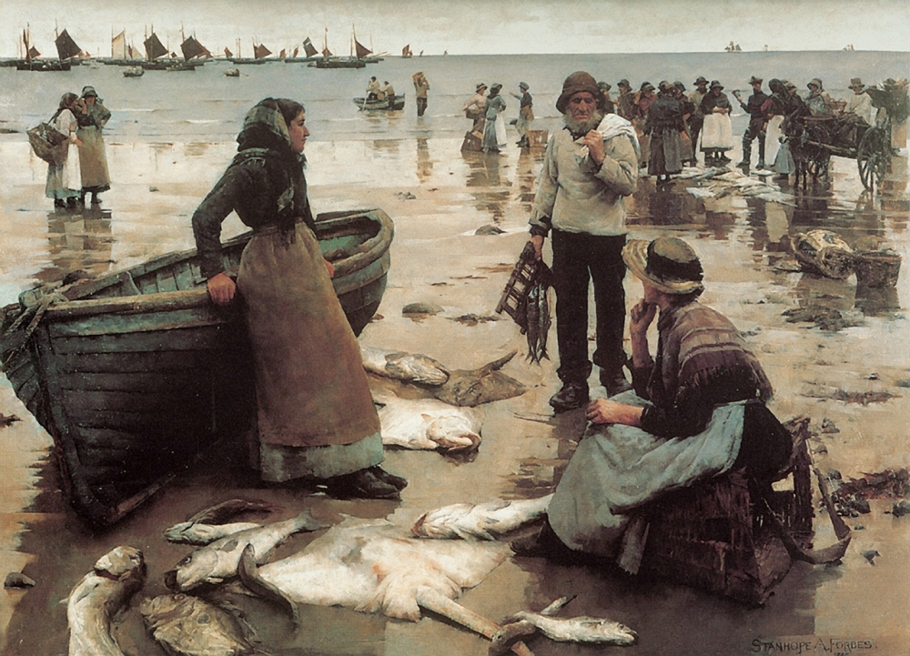 Stanhope Forbes, A Fish sale on a Cornish Beach, 1884-5, oil on canvas, 1500cm x 1200cm, Plymouth City Museum &Art Gallery, Newlyn, social realism.