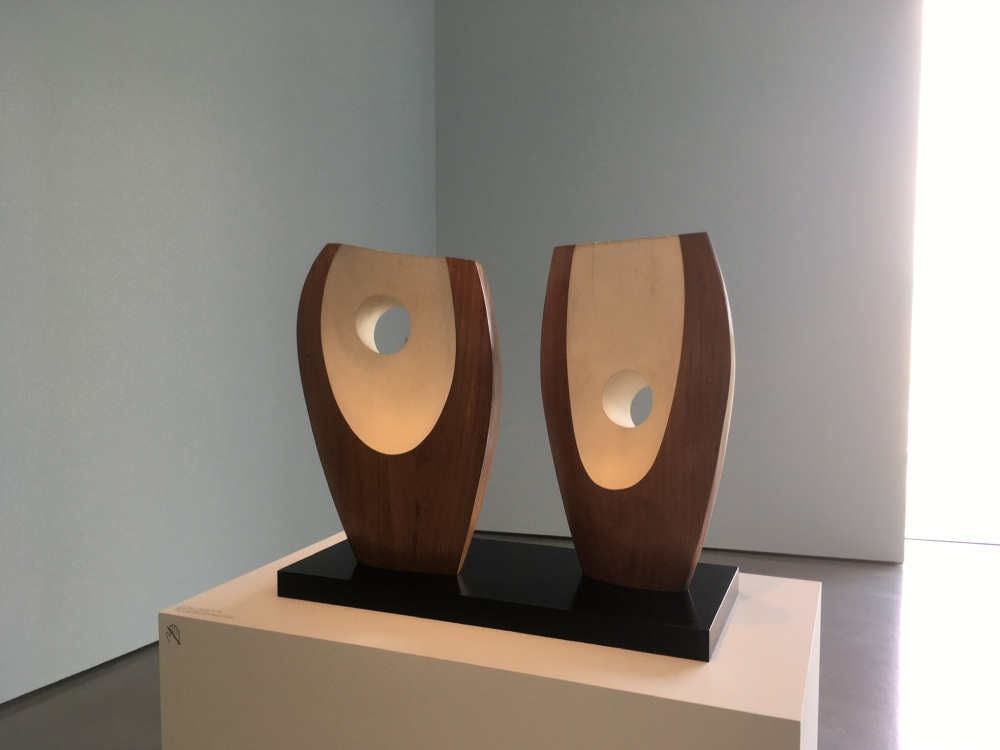 Barbara Hepworth, Two Forms with White (Greek), 1963, Guarea wood part painted, 122cm x 95cm x 53cm., Hepworth Wakefield.