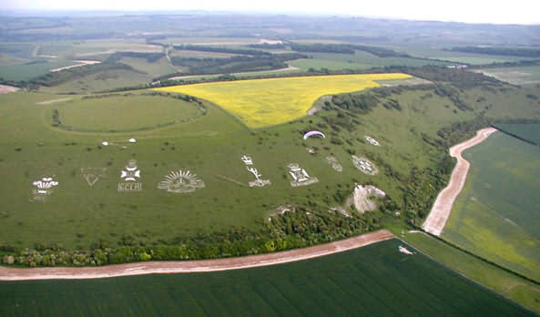 Military Badges carved and scraped into chalk downs, Wiltshire U.K.