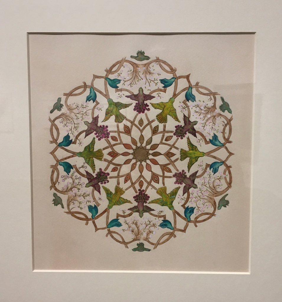 Shaheen Kasmani, Hearts of Green Birds; lockdown edition, 2020, watercolour, gouache, walnut ink and gold on paper, Southampton, manifesting the Unseen, coronavirus, Islamic art.
