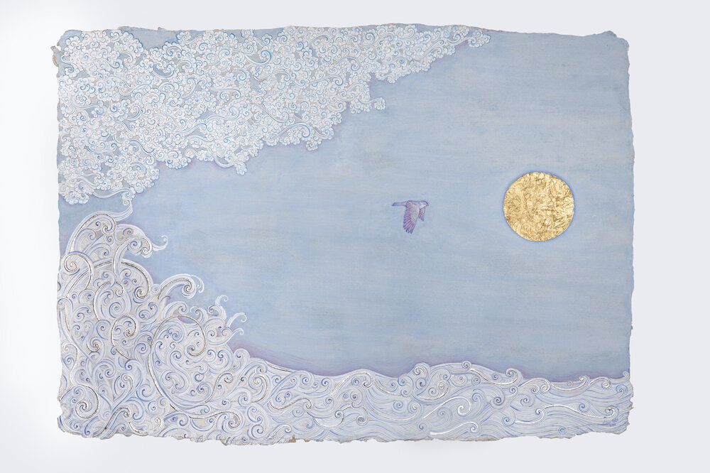Mobeen Akhtar, Solace, 2020, handmade lapis lazuli and azurite paint, gold and platinum leaf on Indian Wasli paper. Southampton, Manifesting the Unseen, Islamic art.