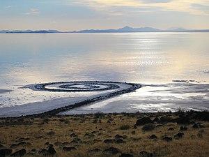 Robert Smithson, Spiral Jetty, 1970, basalt, salt and water, 4.5m x 4572m, Rozel Pint, Great Salt Lake, Utah.