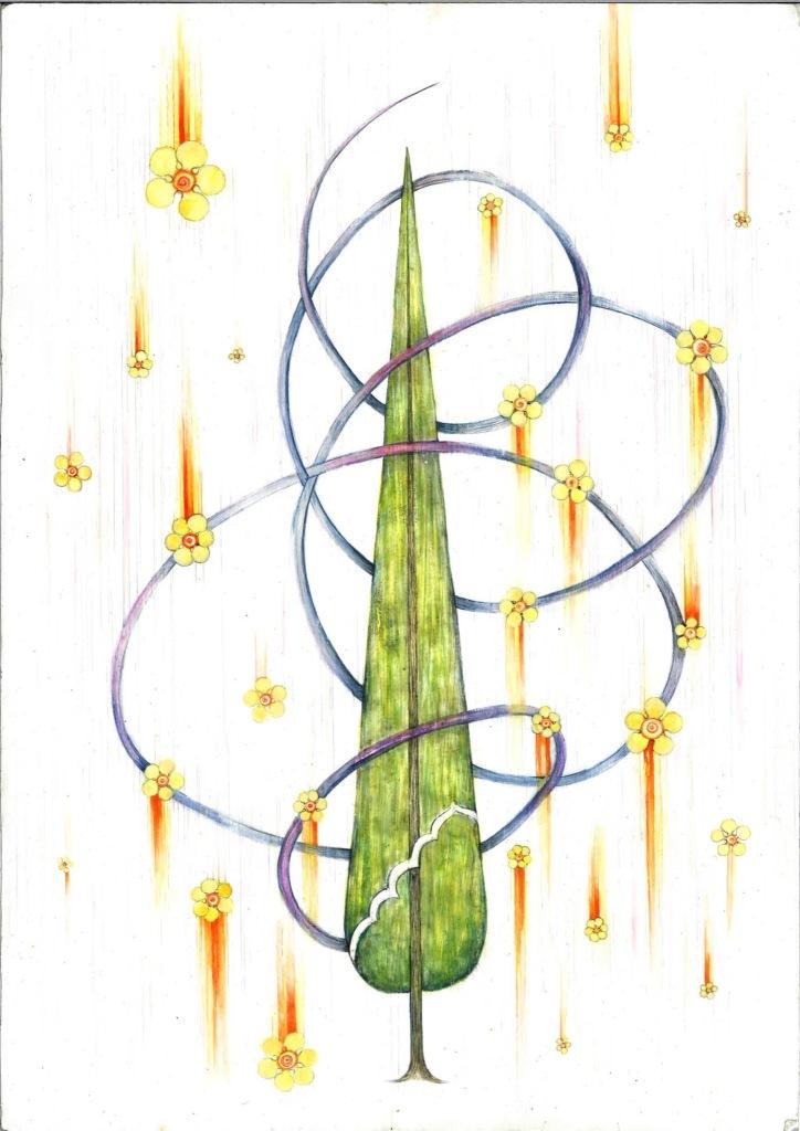 Amber Khokhar, Entwined (Mercy Rain), 2018, mixed media on paper. Southampton Manifesting the Unseen, Islamic art, cypress tress.